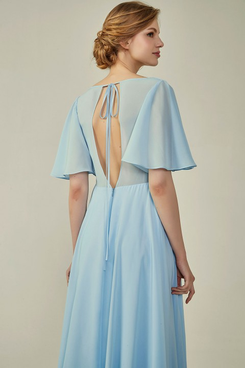 Clearance | Casual V-Neck Flutter Chiffon Bridesmaid Dress with Sleeves