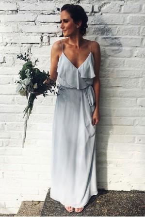 649e0b509f88 Spaghetti Straps Scoop Back Ruffled Chiffon Bridesmaid Dress with Sash