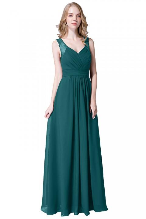 V Neck Illusion Lace Straps Keyhole Back Chiffon Ruched Bridesmaid Dress