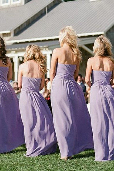 Criss Pleated Bodice Sweetheart Chiffon Bridesmaid Dress Long