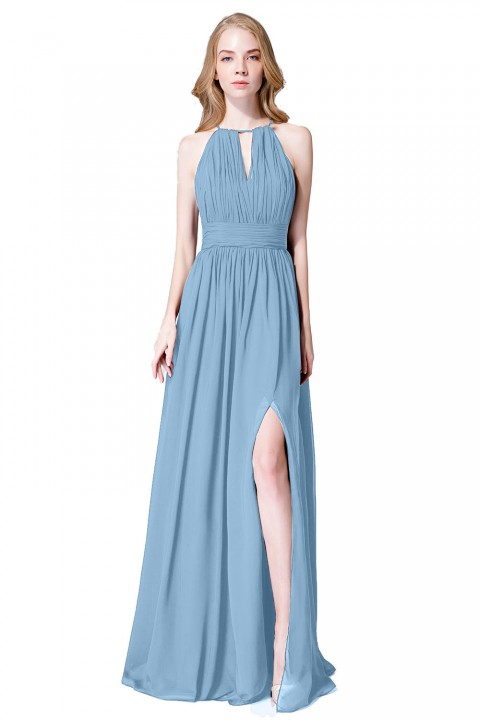 High-Neck Chiffon Bridesmaid Dress with Keyhole