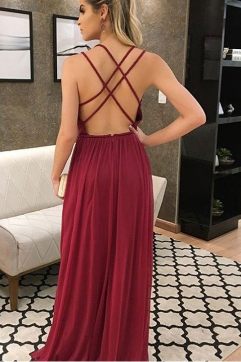 Criss Spaghetti Straps Back Deep V Neck High Slit Pleated Bridesmaid Dress