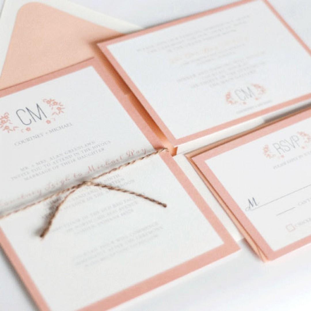 Watercolor Flora Coral Pink Wedding Invitation