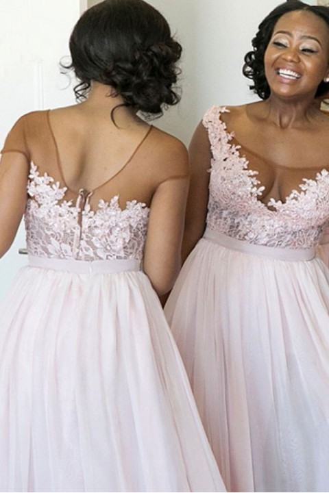 Illusion tulle neckline lace flower bridesmaid dress with high split