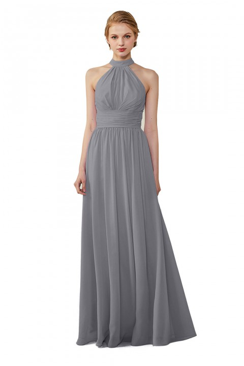 Halter Neckline Chiffon Lace Back Halter Bridesmaid Dress with Sash