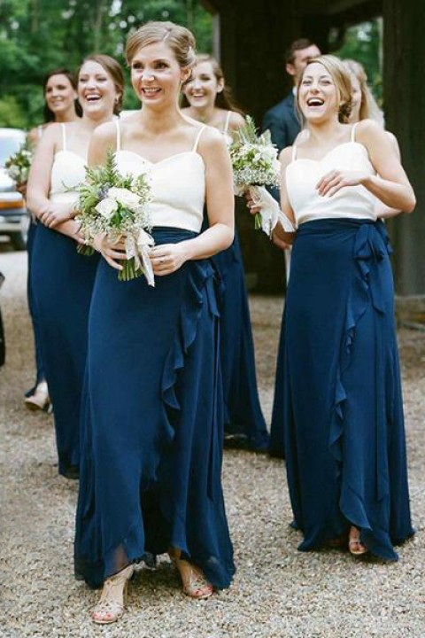 Ruffle long bridesmaid skirt