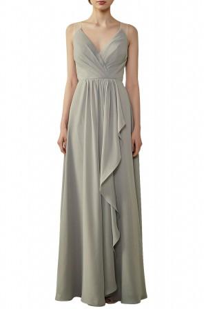 f38c32f69de Ruffled Skirt Lace Illusion Back V-Neck Bridesmaid Dress