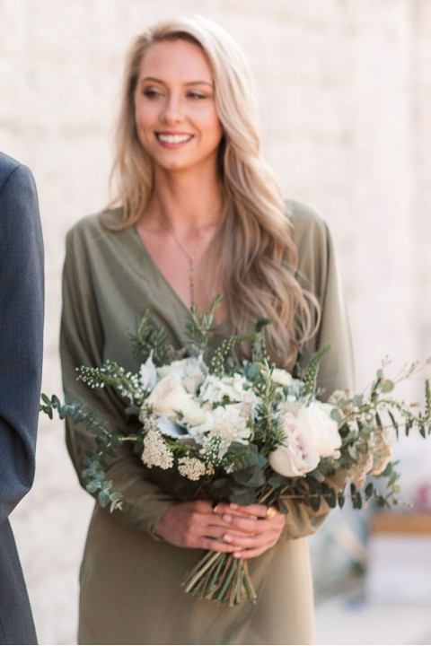 V neck long bridesmaid dress with long sleeves