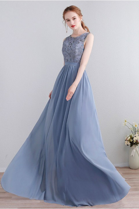 Lace Upper Bodice Illusion Scoop Neck Chiffon Bridesmaid Dress Sleeveless