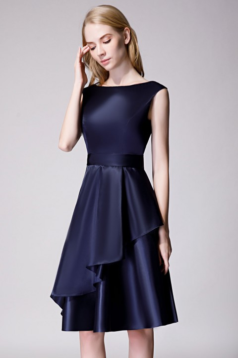 Scoop Neck Knee-Length Satin Bridesmaid Dress With Cascading Ruffles