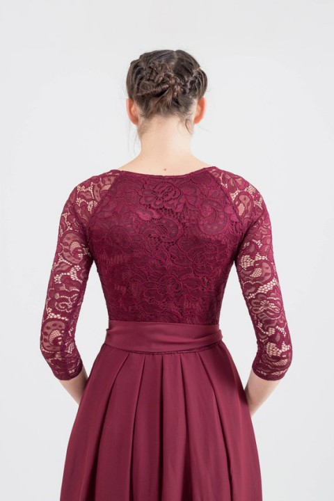 Lace 3/4 Sleeves Scoop Neck Bridesmaid Dress with Sash