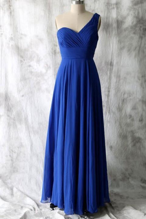 One shoulder long chiffon bridesmaid dress