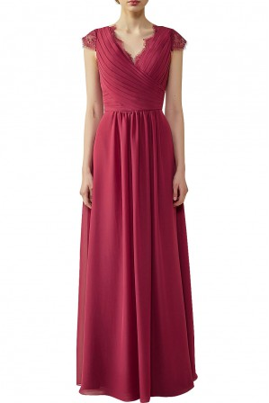 533843c7b3d Lace Cap Sleeves Ruched V-Neck Lace Back Bridesmaid Dress