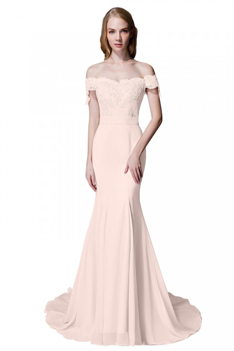 Elegant Mermaid Off Shoulder Chiffon Lace Straight Bridesmaid Dress with Train