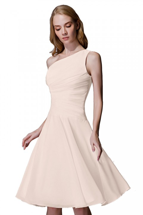 Asymmetrical One-Shoulder Chiffon Ruched Bridesmaid Dress Short