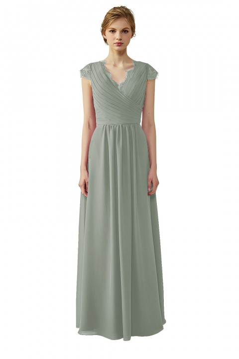 Lace Cap Sleeves Ruched V-Neck Lace Back Bridesmaid Dress