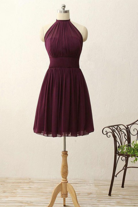 High Halter Bridesmaid Dress With Keyhole Back