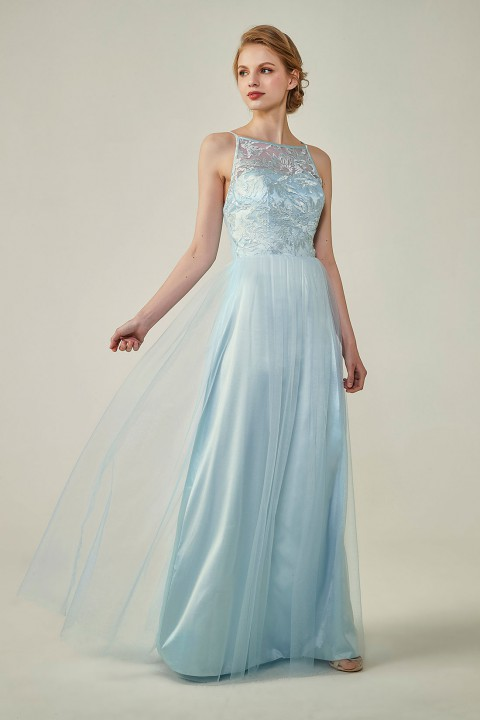 Clearance | Tulle Lace Illusion Boat Neck and Back Bridesmaid Dress