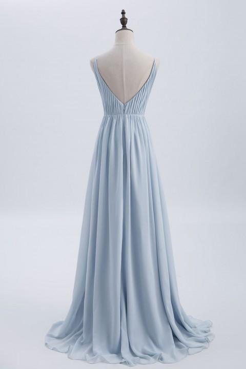 Clearance   Spaghetti Straps Chiffon Bridesmaid Dress Open-back
