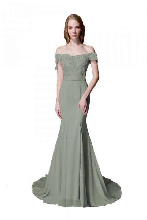 7a429931652 Elegant Mermaid Off Shoulder Chiffon Lace Bridesmaid Dress with Train