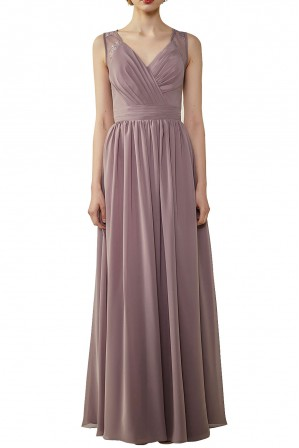 d770c075c0c Lace Illusion Back Ruched V-Neck Bridesmaid Dress with Sash