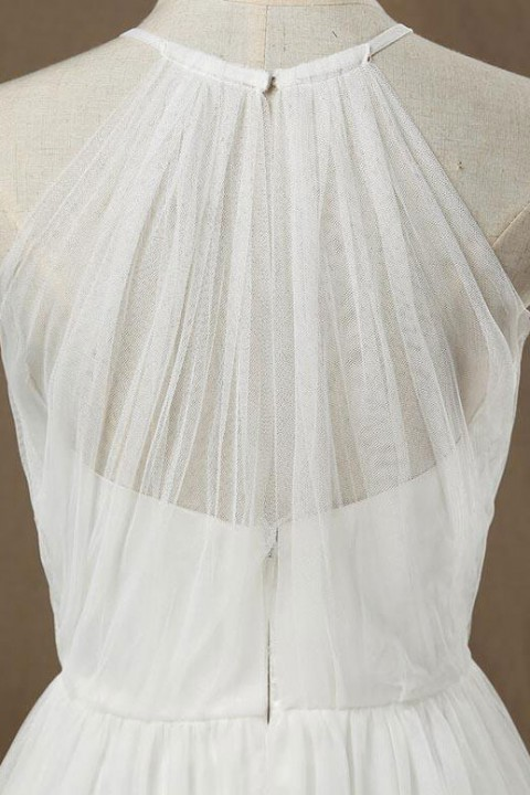 Illusion Halter Neckline Tulle Bridesmaid Dress Long