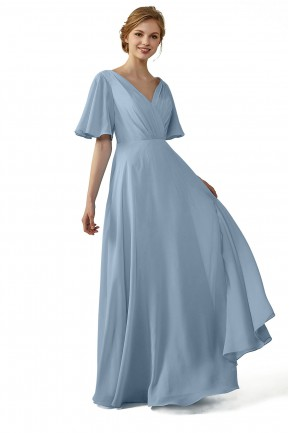 Casual V-Neck Flutter Chiffon Bridesmaid Dress with Sleeves 6038b4675