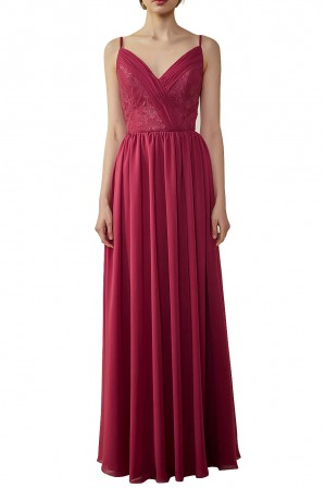 5acc685d2b7 Spaghetti Straps Draped chiffon Lace Open-back Bridesmaid Dress