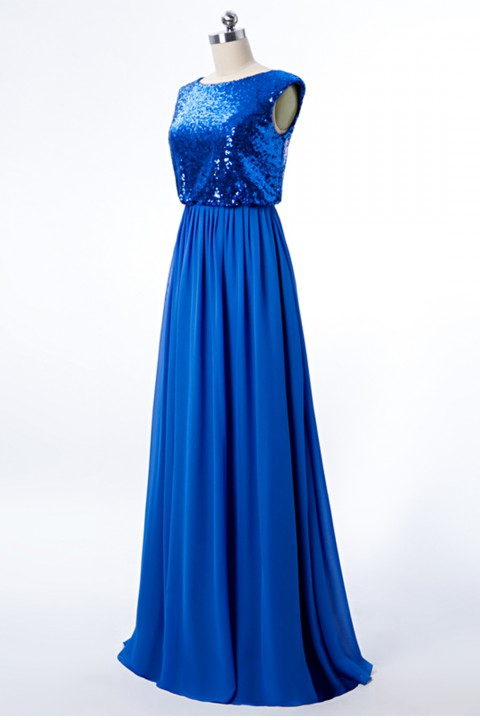 Boatneck Sequin Top Cap Sleeves Bridesmaid Dress with Chiffon A-line Skirt