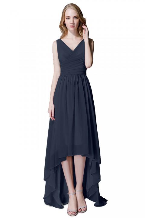 6466f3b08381a Romantic High-Low V-Neck Chiffon Bridesmaid Dress