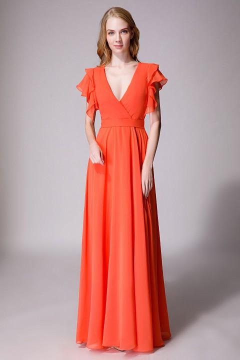 Deep V neck chiffon bridesmaid dress with ruffle sleeves