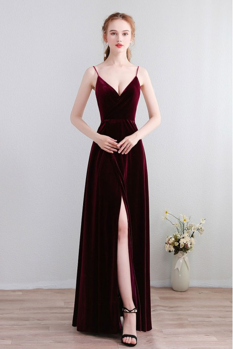 Velvet Spaghetti Straps Open Back Bridesmaid Dress with High Split