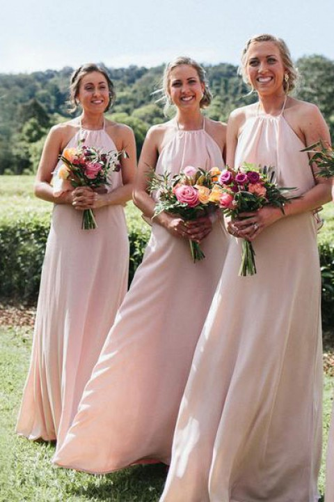 210795e87dc Bohemian halter chiffon long bridesmaid dress with open back