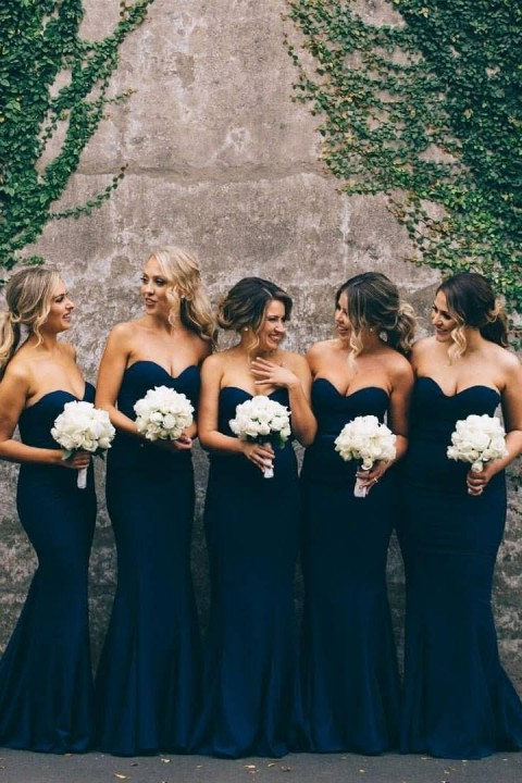Sweetheart Mermaid Chiffon Bridesmaid Dress Long
