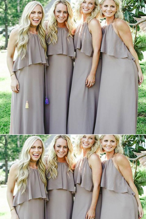 Halter Ruffle Top Chiffon Bridesmaid Dress with Open Back