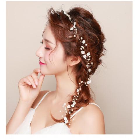 Chic Flower Pearl Decor Bridal Hair Vine