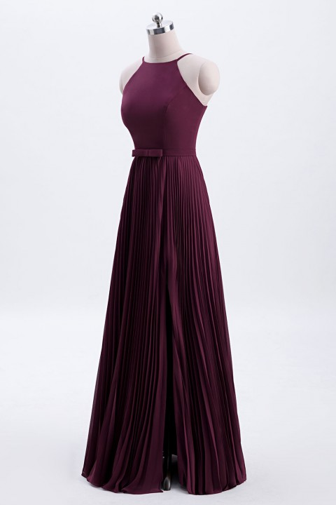 Fit-and-Flare Slit High-Neck Halter Bridesmaid Dress with Bowknot