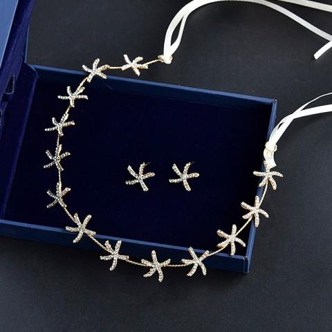 Chic Starfish Shaped Rhinestone Tied Hair Clasp Earrings Set