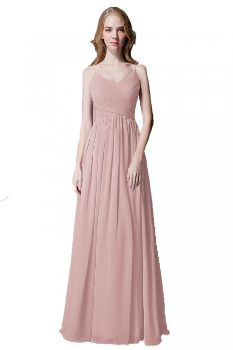Spaghetti Straps Chiffon Bridesmaid Dress with Lace Open Back
