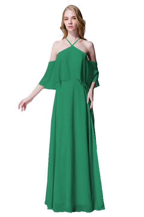 Y-Neck Ruffle Chiffon Multi-wear Bridesmaid Dress Long