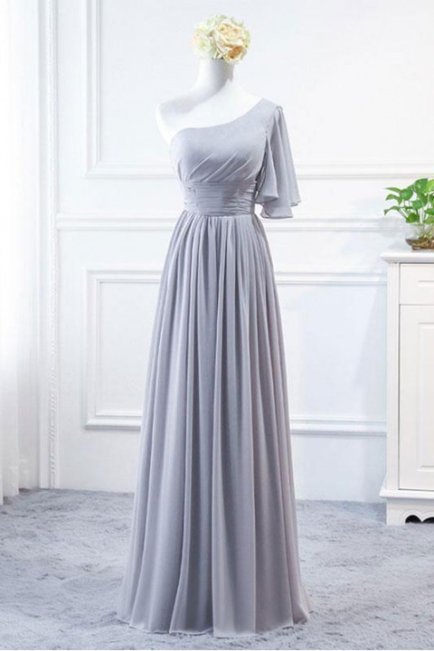 Asymmetrical Flutter Sleeve One Shoulder Corset Bridesmaid Dress Long