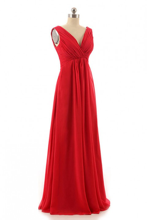 Tank V Neck & Back Pleated Chiffon Bridesmaid Dress Long