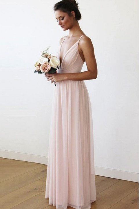 Criss-Cross Spaghetti Straps Back Deep V Neck Bridesmaid Dress