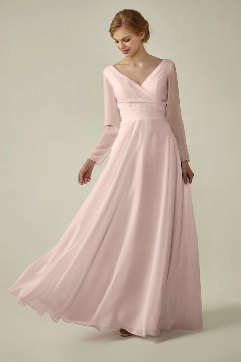 Clearance | Long Sleeve Lace Back V-Neck Elegant Bridesmaid Dress