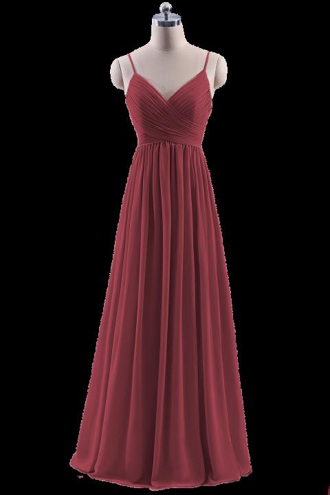 Spaghetti Straps Pleated Low V Back Bridesmaid Dress