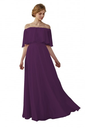8c988cf45b2 Bohemian Style Off Shoulder Chiffon Bridesmaid Dress