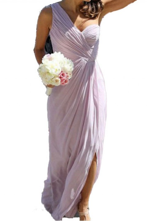 One shoulder bridesmaid dress with split