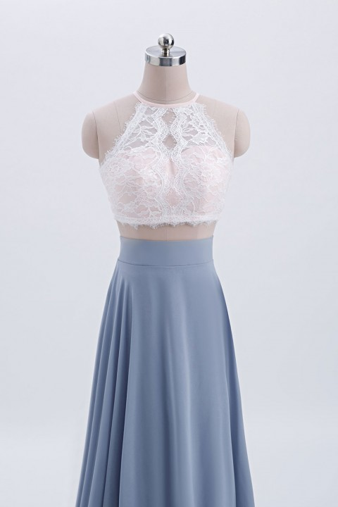 Illusion High Neck Lace Back with Button Top Bodice