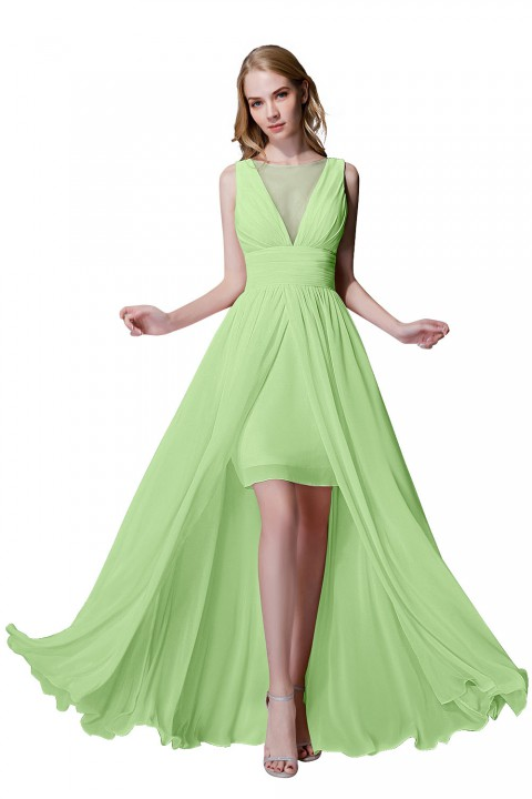 Plunging Illusion Tulle Scoop Neck High Slit Chiffon Bridesmaid Dress