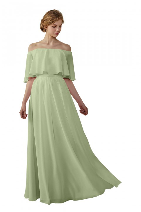8c988cf45b2 Bohemian Style Off Shoulder Chiffon Bridesmaid Dress
